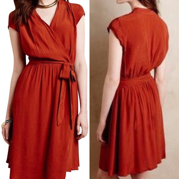 8f4825c470c1 Anthropologie Dresses & Skirts - Anthro Maeve Noronha Wrap Dress Rust Orange  Medium